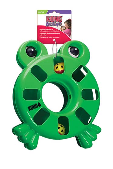 Kong cat puzzle toy kikker Groen
