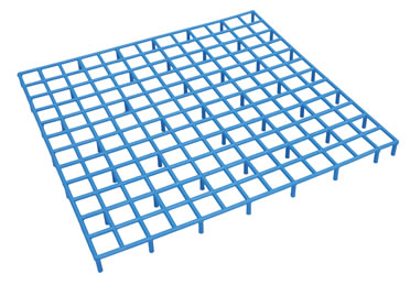 Grid plastic with 8 adj. snap-on legs  38x38x2,6CM