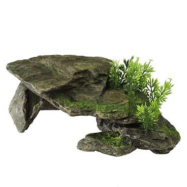 Stone with plants Grey 28,5x16,5x10,5CM