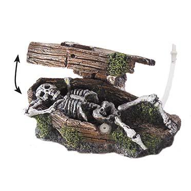 Coffin w. skeleton bubble action  14,5x9x7CM