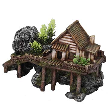Wooden house with plants  27,5x13x16CM