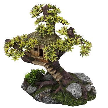 Tree house with plants  28x15x24,5CM