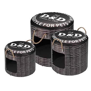 Petbox set rattan 30x26CM/35x34CM/40x42CM