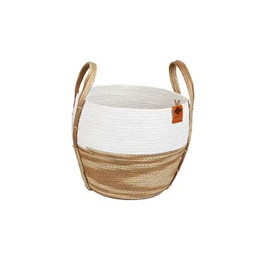 Paper rope mand ray Beige/wit 28x28x25cm