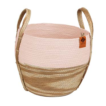 Paper rope mand ray Roze/beige 28x28x25cm