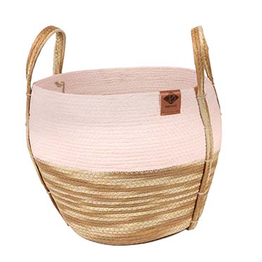 Paper rope mand ray Roze/beige 33x33x29cm