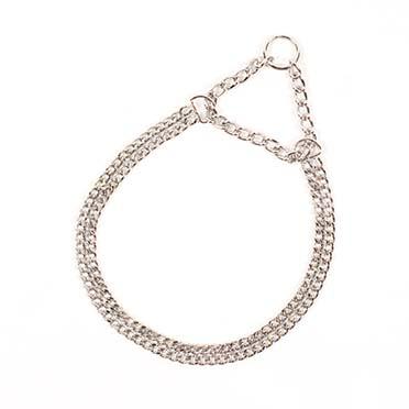 Choke chain 2 rows, chromed  55cm