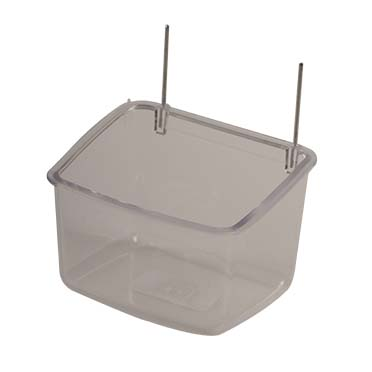 Parrot feeder with iron hooks Transparent 9x7x6,5cm