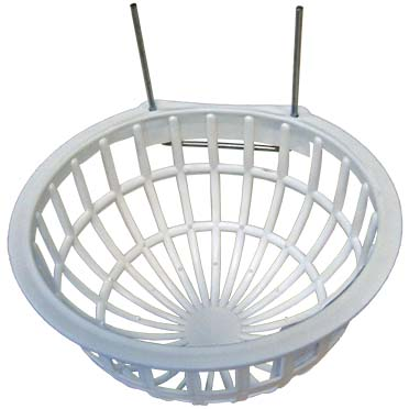 Plastic nest basket with metal hooks white