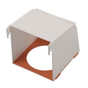 Plastic birdhouse without nest white/orange