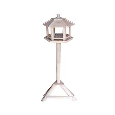 Bird house on stand hexagon genova White/grey 34x28x108cm