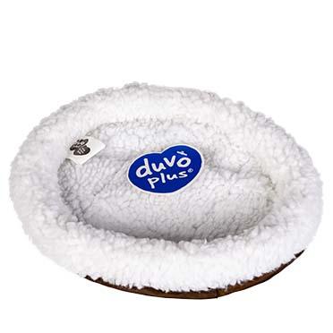 Sheepskin oval basket Brown 27x21cm