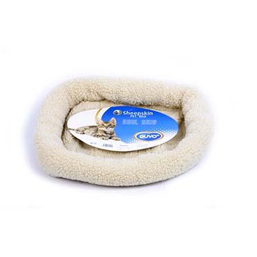 Sheepskin oval basket Brown 50x35cm