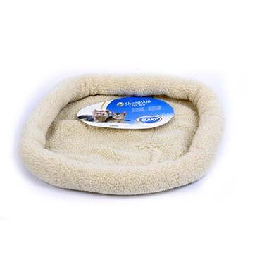 Sheepskin oval basket Brown 61x50cm