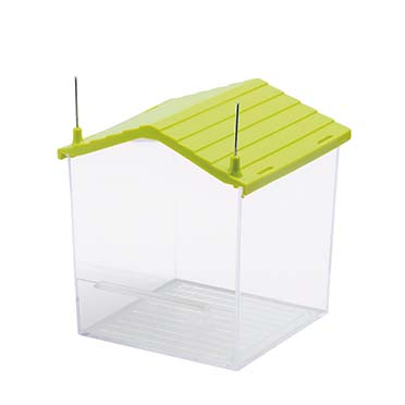 Bath house with metal brackets Transparent 10x10x12cm