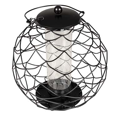 Protective fooo dispenser for seeds spherical Black 28x28x28cm