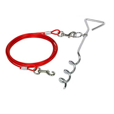 Tie out stake with rope Red 40cm