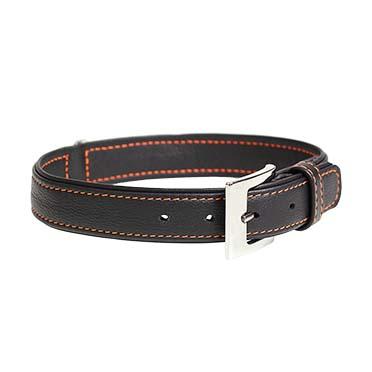 Trendy cuir collier Noir 24-29cm/14mm