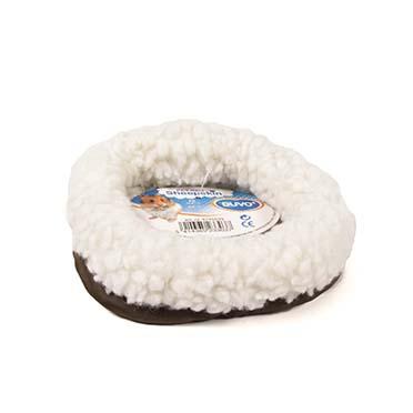 Sheepskin bed oval White/blue 16x7CM