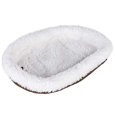 Sheepskin bed oval White/blue 32x24CM