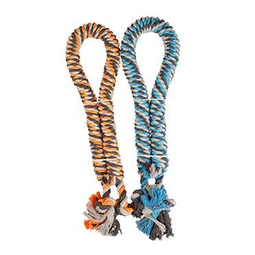 Twisted cotton rope with knots Blue/orange Ø3,2cm - 90cm
