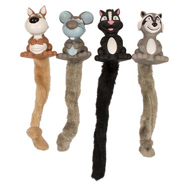 Vinyl squeaky animals with plush tail  24x12x8cm