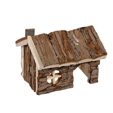 Small animal wooden lodge bark  15x11x12CM