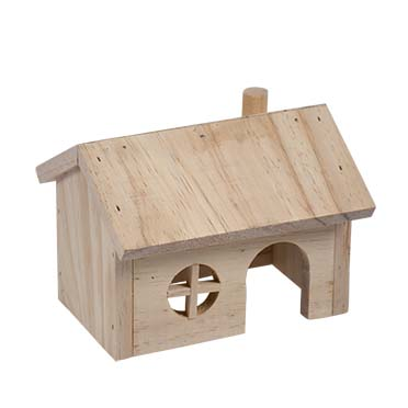 Small animal wooden lodge gable roof  15x11x12CM