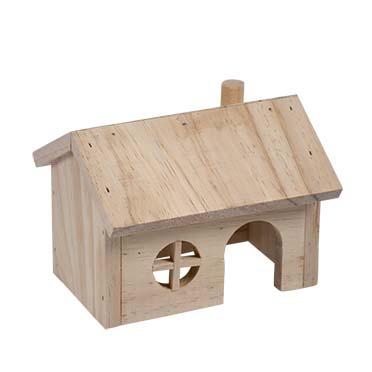 Knaagdieren houten lodge puntdak 15x11x12CM