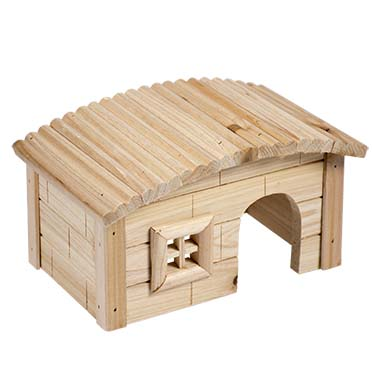 Small animal wooden lodge dome roof  20,5x13x12CM