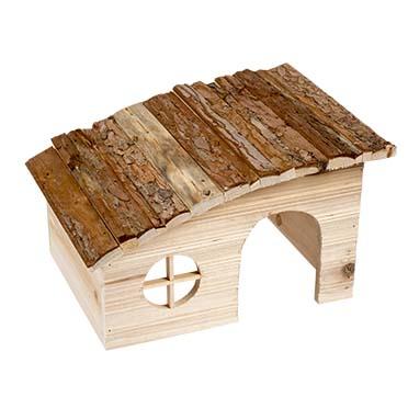 Knaagdieren houten lodge schuin dak 31x23x18CM