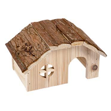 Knaagdieren houten lodge schorsdak 21x13x12CM