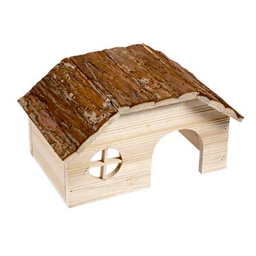 Small animal wooden lodge bark roof  28x18x16CM