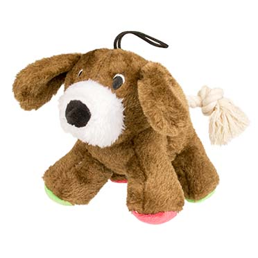 Plush dog with rope tail  17cm