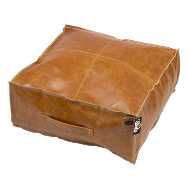 Leatherette pouf siesta caramel Cognac 60x60x25cm