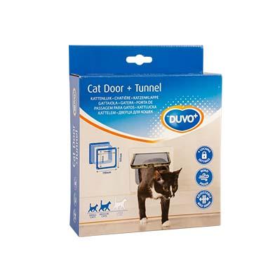 Cat door + tunnel White 19x19,7cm