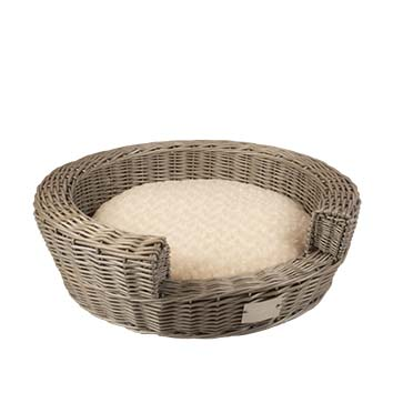 Provence wicker basket step-in & cushion  62x62x18cm