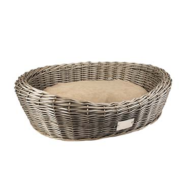 Provence wicker basket oval & cushion  90x71x23cm