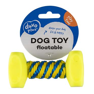 Dumbbell with rope Blue/yellow 10x5cm