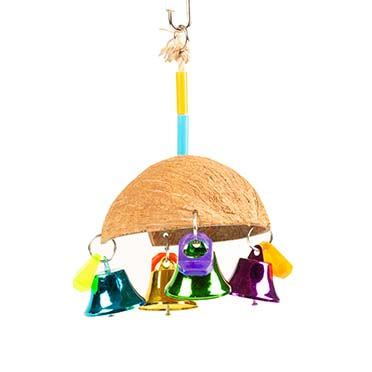 Colourful coco umbrella with bells Mixed colors 13x13x19cm
