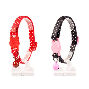Cat collar white dots nylon Black/red 20-30cm / 10mm