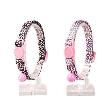 Cat collar panther nylon Black/pink 20-30cm / 10mm