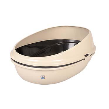 Cat litter tray luxo with rim & sieve Mocaccino 59x38x27cm