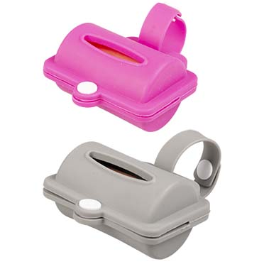 Dog waste bags dispenser silicone Grey/pink 8,2CM