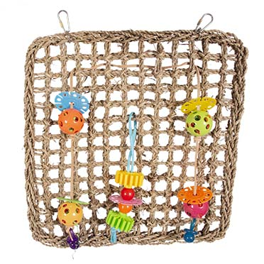 Seagrass climbing net with colourful toys  41x37cm