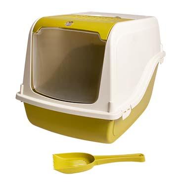 Cat toilet sybil with filter & scoop Mustard 57x48x38cm
