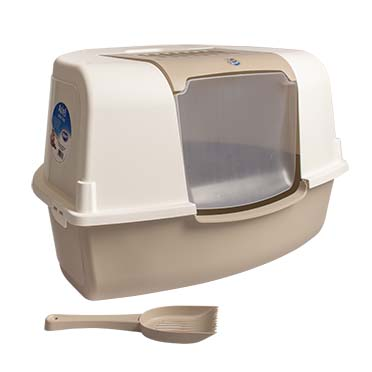 Cat toilet ariel corner with filter & scoop Mocaccino 58x47x38cm