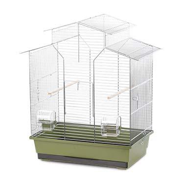 Bird cage natural iza 2 Olive green/zinc 51x30x60,5cm