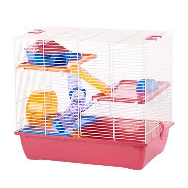 Rodent cage ibiza diego 3 Fuchsia/white 50x33x45,5CM
