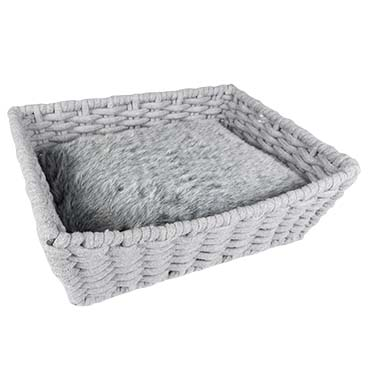 Oyster basket rectangular in cotton rope Grey 45x34x16cm